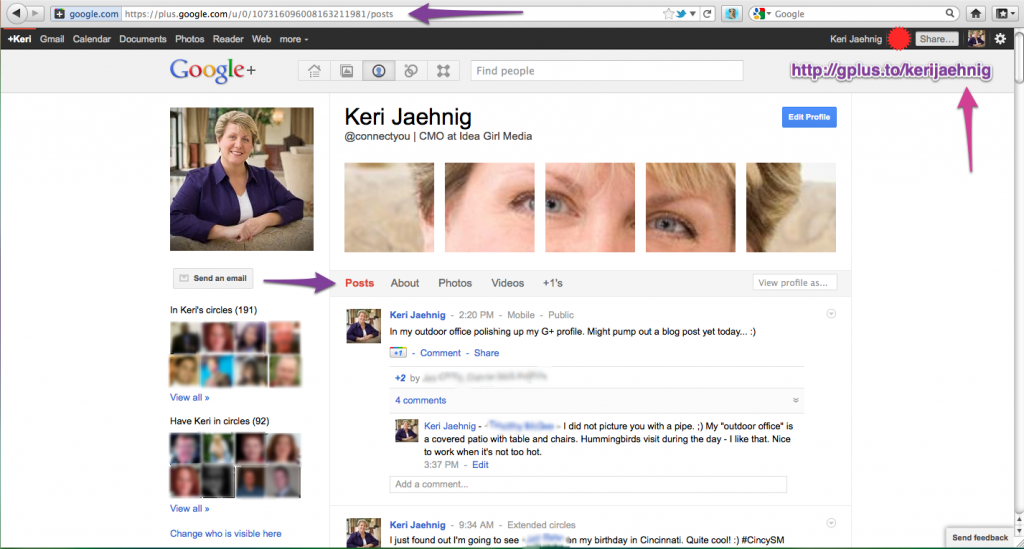 Keri Jaehnig of Idea Girl Media uses a special photo banner on Google+