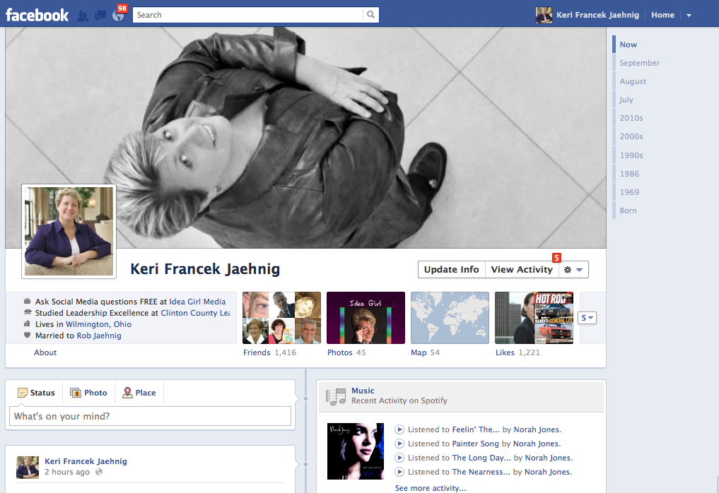 Idea Girl Media's CMO gives you an early look at her new Facebook Timeline