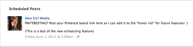 Idea Girl Media offers an example of a scheduled post for her Facebook Page which appears in the Activity Log