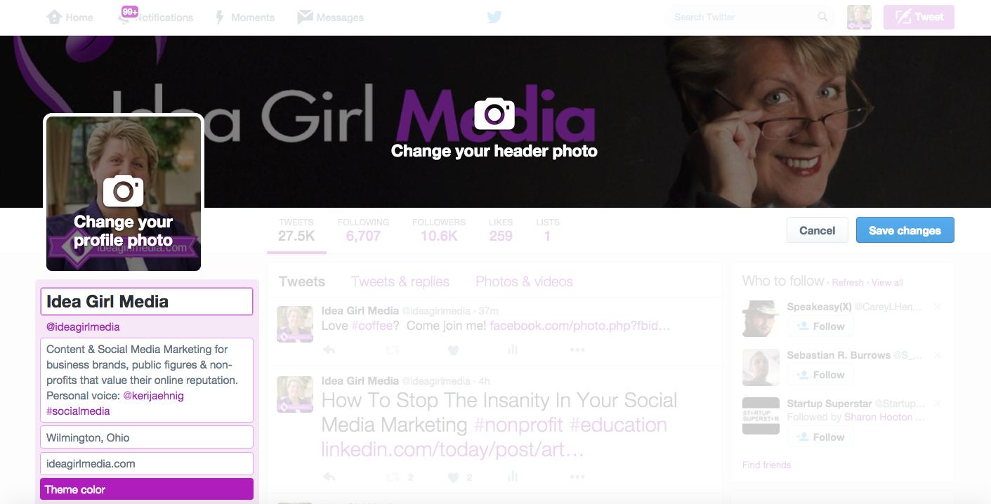 Keri Jaehnig of Idea Girl Media explains how to edit your Twitter profile for social media success