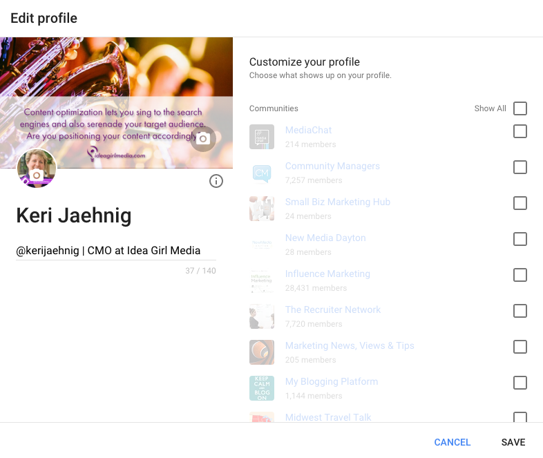 Edit your new Google+ Profile for social media success explains Keri Jaehnig of Idea Girl Media
