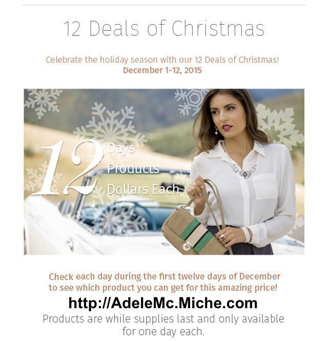 Adele McIntosh offers a holiday marketing promotion via Miche handbags: 12 Deals Of Christmas, as Keri Jaehnig at Idea Girl Media explains
