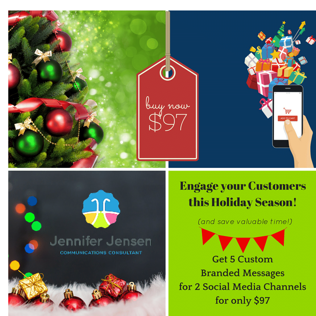 Jennifer Jensen, Communications Consultant offers her graphics holiday marketing promotion at Idea Girl Media's Holiday Marketplace online