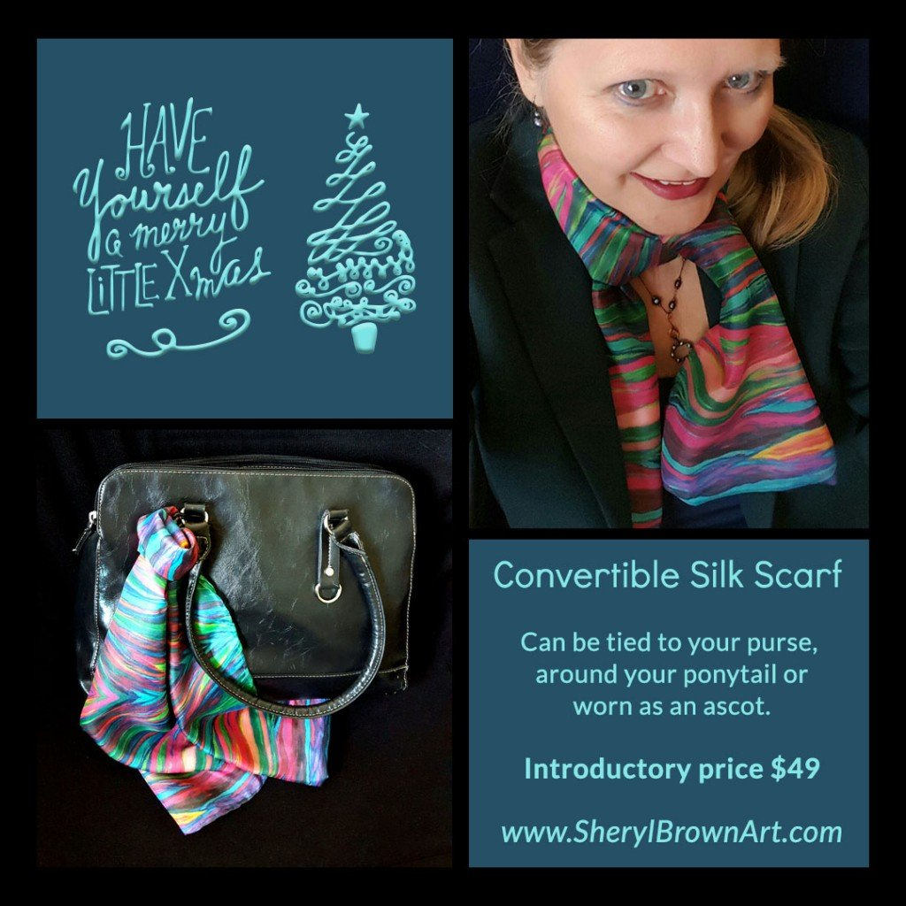 Sheryl Brown offers her convertible scarf as part of the holiday marketplace at Idea Girl Media, a holiday marketing initiative