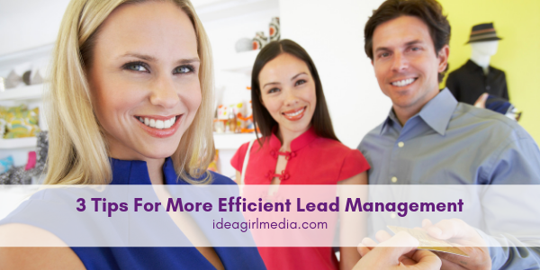 Three Tips For More Efficient Lead Management outlined at Idea Girl Media