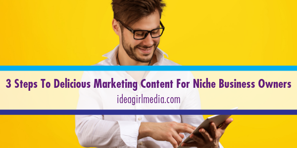 Three Steps To Delicious Marketing Content For Niche Business Owners explained at Idea Girl Media