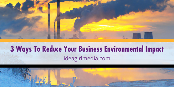 Three Ways To Reduce Your Business Environmental Impact listed and described at Idea Girl Media