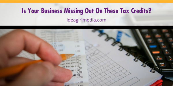 Is Your Business Missing Out On These Tax Credits? The answer and checklist outlined at Idea Girl Media