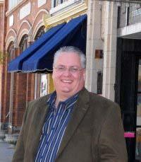 Rob Jaehnig in front of the Murphy Theatre in Wilmington, Ohio