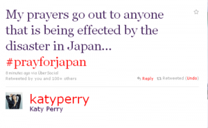 Katy Perry tweets her prayers for Japan, #prayforjapan