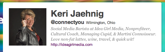 Keri Jaehnig, @connectyou, is a Social Media Barista at Idea Girl Media!