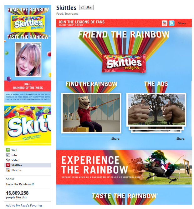 Skittles on Facebook has a great example of a good Facebook Welcome Tab