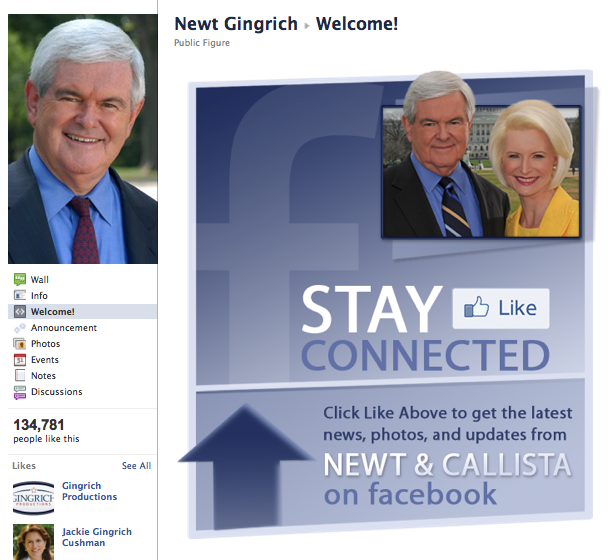 Idea Girl Media notes that Newt Gingrich has a simple Welcome Tab that is just fine