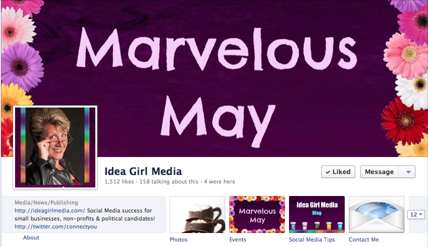 Idea Girl Media's About Panel With Custom Facebook Tab Images for May 2012