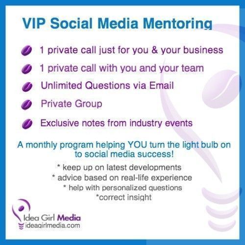 Idea Girl Media offers a VIP Social Media Mentoring Program to take your brand's social media presence to the next level while also engaging your team!