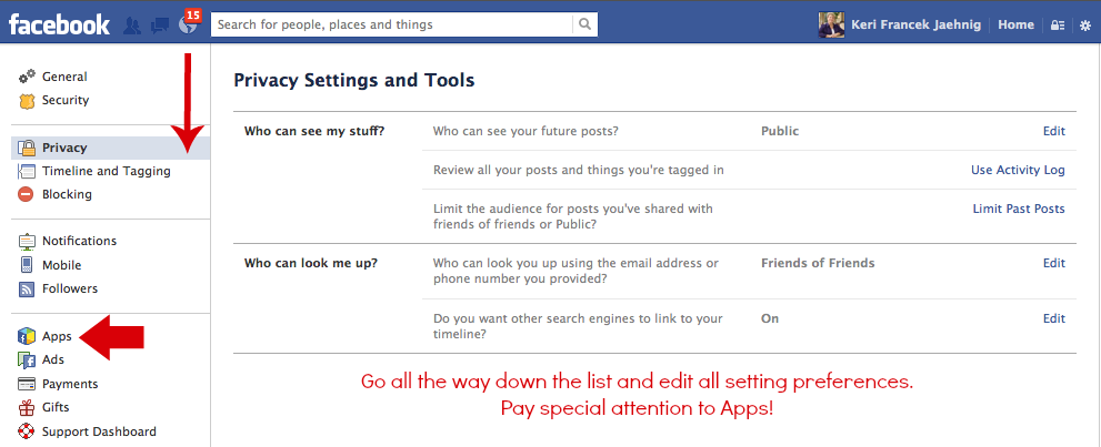Check all Faceboo privacy settings when preparing for Facebook's Graph Search, explains Keri Jaehnig of Idea Girl Media