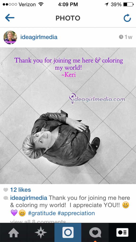 Keri Jaehnig of Idea Girl Media gives you insight on braving Instagram