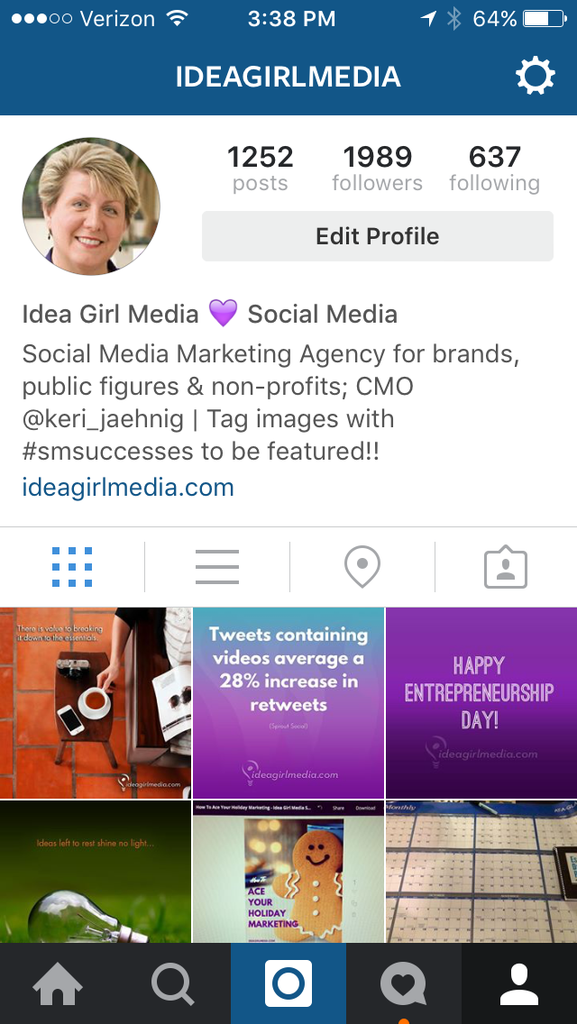 "Social Media Success on Instagram starts with clicking the ""edit profile"" button according to Keri Jaehnig at Idea Girl Media"