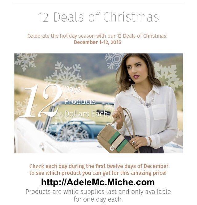 Adele McIntosh offers a holiday marketing promotion via Miche handbags: 12 Deals Of Christmas, as Keri Jaehnig at Idea Girl Media explains