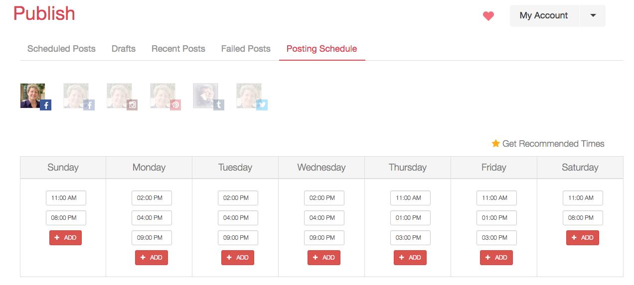 Keri Jaehnig of Idea Girl Media shares her Viraltag social media management tool dashboard displaying recommended times