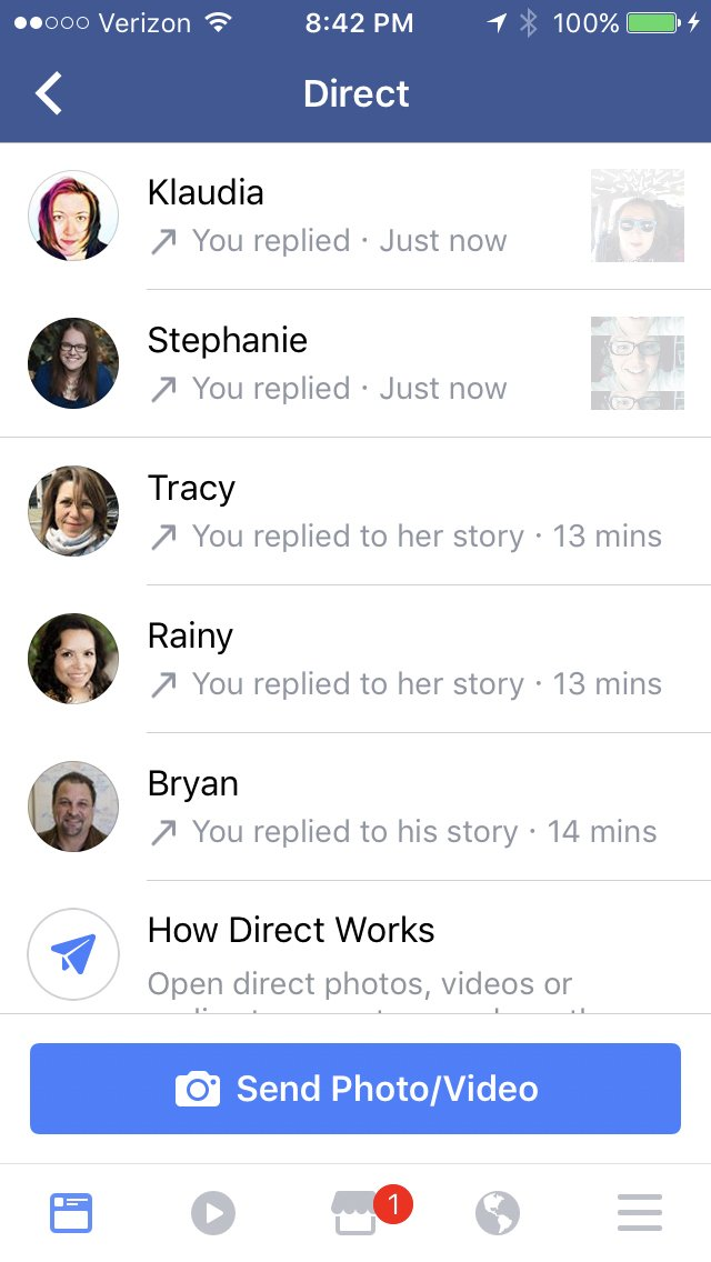 Keri Jaehnig explains the Facebook Stories Direct Message Reply function at Idea Girl Media