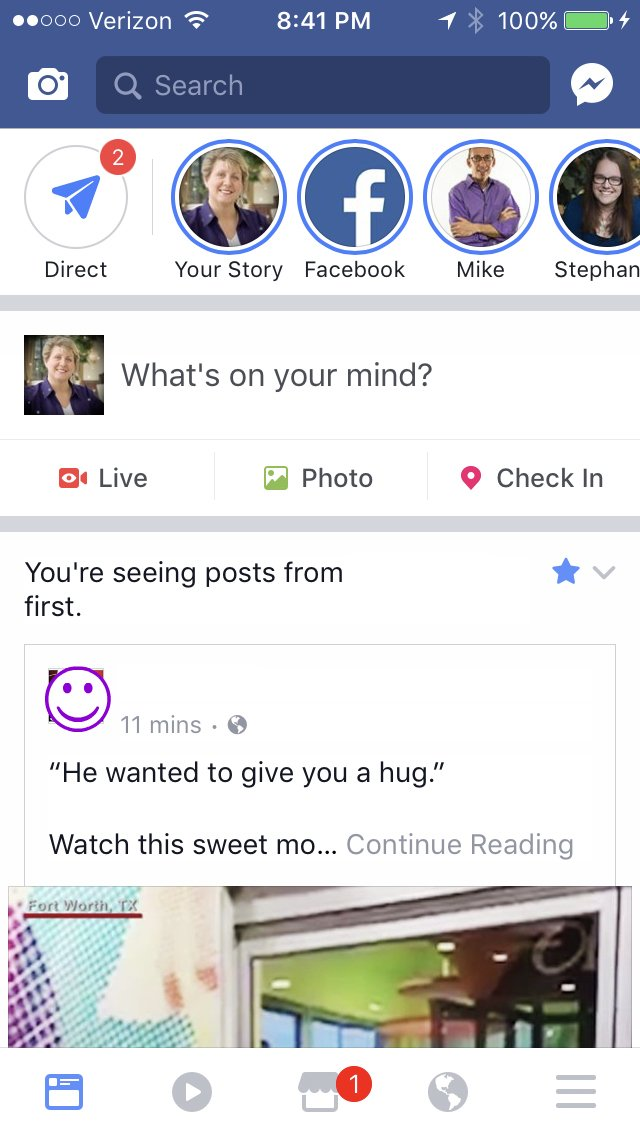 Facebook Stories Home Page View as explained by Keri Jaehnig at Idea Girl Media