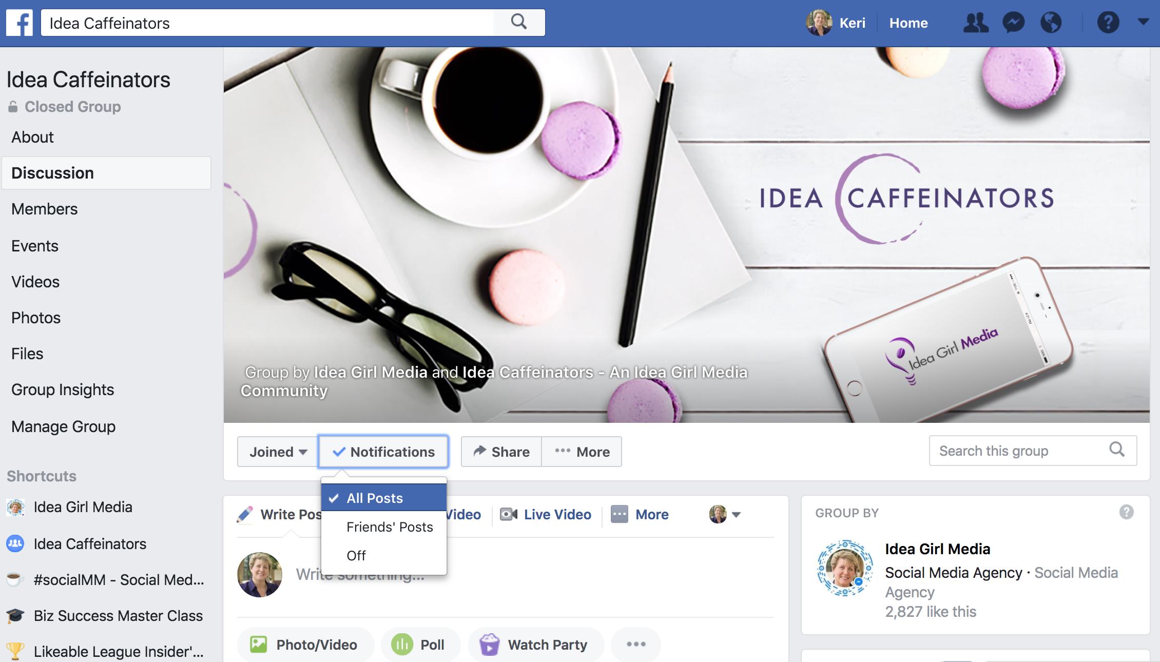 Keri Jaehnig shows you how to help members See All Facebook Groups Posts Via The New Facebook Algorithm at ideagirlmedia.com