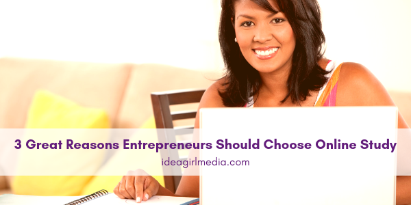 Three Great Reasons Entrepreneurs Should Choose Online Study outlined at Idea Girl Media
